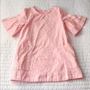Hanna Andersson Pink Daisy Dress with Bell Sleeves